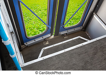 closed bus doors from the inside