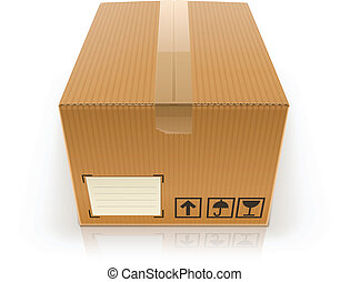 closed cardboard box vector illustration isolated on white...