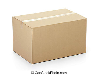 Closed cardboard box taped up and isolated on a white ...