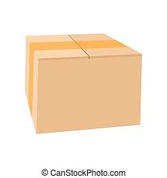 Closed cardboard box taped up cartoon icon