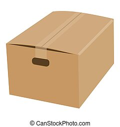 Closed cardboard box taped up mockup. Realistic illustration of closed cardboard box taped up mockup for web