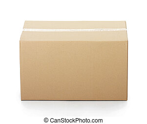 Closed cardboard box taped up and isolated on a white...