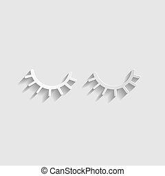 Closed cartoon eyes. Paper style icon. Illustration.