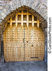 Closed castle gate. Malahide Castle, Ireland, Europe