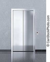 Closed chrome metal office building elevator