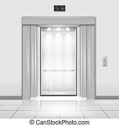 Closed chrome metal office building elevator doors with rays of light in the cab realistic