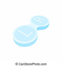 Closed contact lens case icon, cartoon style