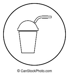 Closed container for hot cold drinks with straw icon black color in circle round