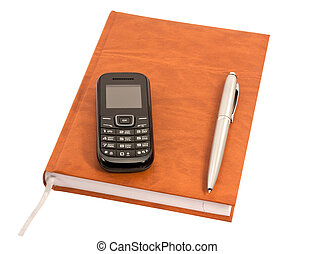 Closed diary with a pen and mobile phone