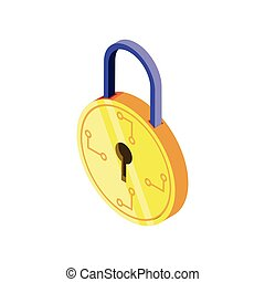 closed digital padlock on white background
