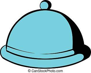 Closed dish icon cartoon