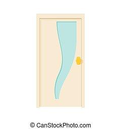 Closed door icon, cartoon style