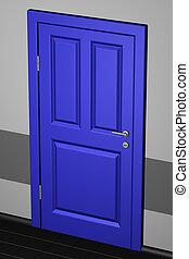 Closed door in a corridor