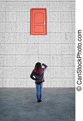 Closed door on wall