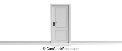 Closed door on white wall and floor background, banner, copy space. 3d illustration