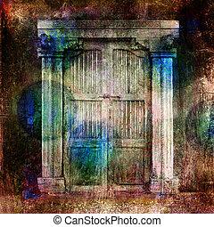 Closed Doors - Antique Doors. Photo based illustration....