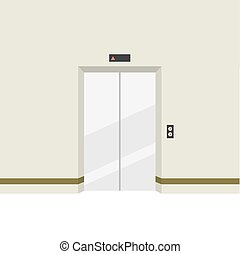 Closed Doors Elevator. - Closed Doors Elevator Vector...