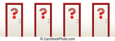 closed doors with a question mark in front