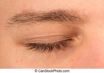 Closed eye - Closeup view of caucasian man right eye closed