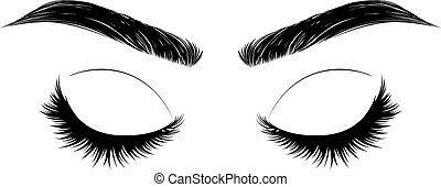 Closed eye with long eyelashes and brows