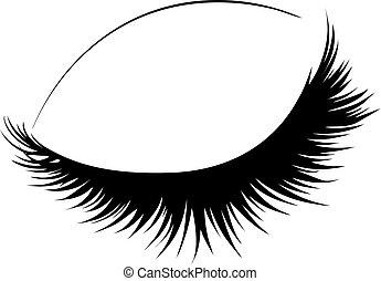 Closed eye with long eyelashes