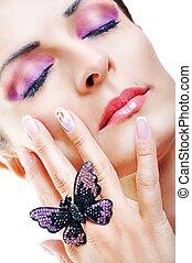 Closed Eyes Beautiful Brunette Girl. Fashion Model Girl Portrait