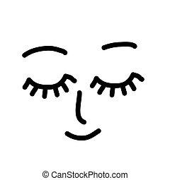 Closed eyes face. Simple vector sketch. Dream.