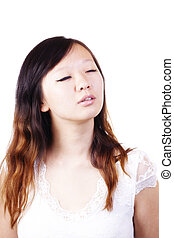 Closed Eyes Portrait Young Attractive Chinese Woman