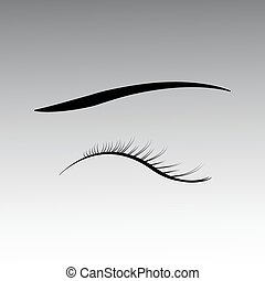 Closed eyes with black fluffy eyelashes on a white background.
