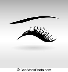 Closed eyes with black fluffy eyelashes on a white background