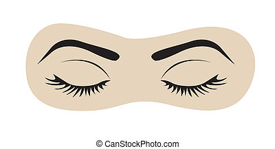 closed eyes with eyelashes and eyebrows, vector illustration