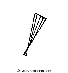closed fan hand drawn in doodle style. Element for design postcard, poster