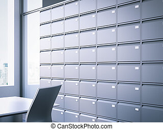 Closed filing cabinet. 3d rendering