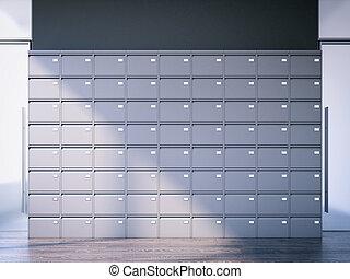 Closed filing cabinet in interior. 3d rendering