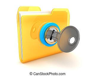 closed folder - 3d illustration of folder closed with key