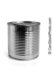 Closed food tin can on white background