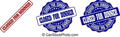 CLOSED FOR DINNER Scratched Stamp Seals