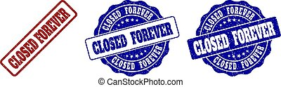 CLOSED FOREVER Scratched Stamp Seals