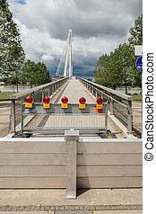 Closed Friendship bridge between France and Germany due to flooded Rhine