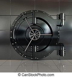 Closed front view bank vault door
