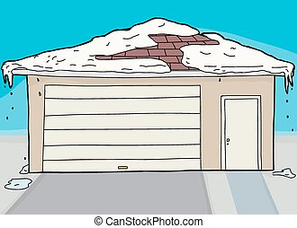 Closed Garage and Door with Snow