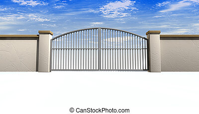 A solid garden wall with closed metal gates with a blue sky in the background and isolated on a white foreground