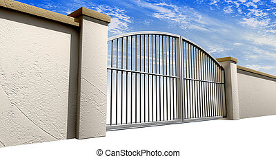 Closed Gates And Wall Perspective
