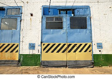 Closed gates in trolleybus depot