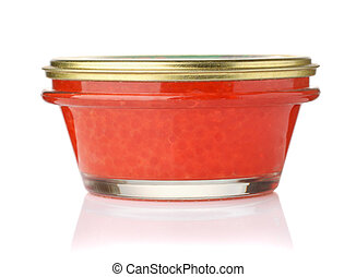 Closed glass jar of red salmon caviar