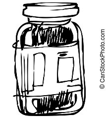 closed glass jar - a sketch in black and white closed glass...