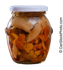 Closed glass jar with assorted mushrooms
