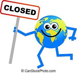closed globe - cartoon globe man holding a closed sign