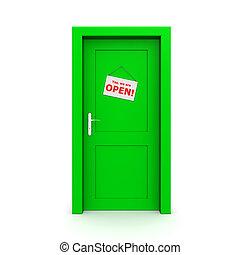 Closed Green Door With Door Sign