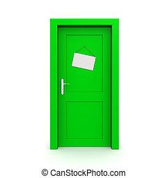 Closed Green Door With Door Sign - single green door closed...